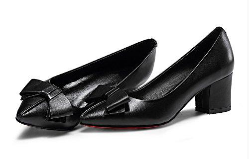 AdeeSu Womens Professional Pointed-Toe Comfort Leather Pumps Shoes SDC04683 Black QooCFVqo