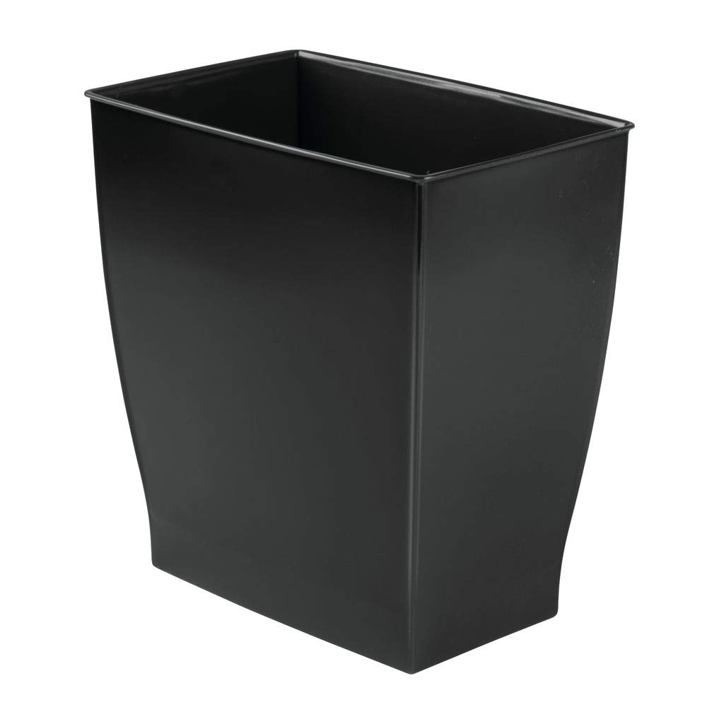 InterDesign Mono Wastebasket, Black Spa Rectangular Trash, Waste Basket Garbage Can for Bathroom, Bedroom, Home Office, Dorm, College