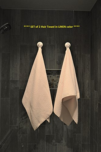 Fina Ultra Absorbent Microfiber Waffle HAIR Towel - ONE Hair and Body(19 X 39 Inch) Towel in Linen color ONLY.