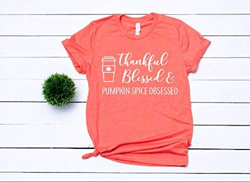 dc5b40355 Image Unavailable. Image not available for. Color: fall t-shirt cute  women's shirt halloween shirt religious tee thanksgiving t-shirt thankful