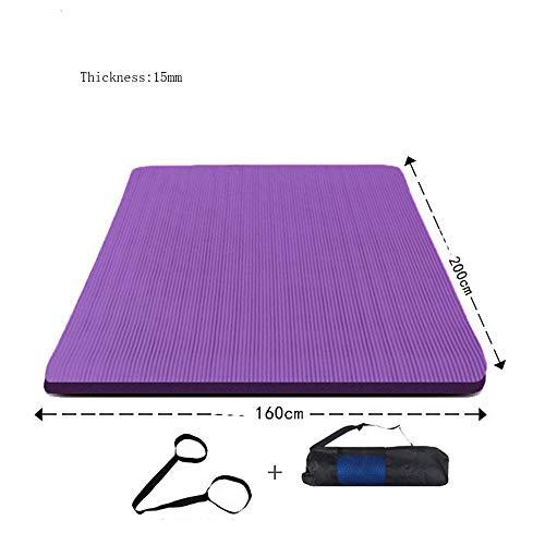 Mdck Anti-Slip Mats,200cm Double Pad Yoga Mats Thickened 15mm Wide 160cm Yoga Mats Fitness Mats
