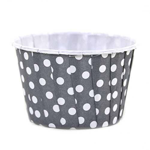 Dress My Cupcake 24-Pack Party Nut Cups, Polka Dot, Gray