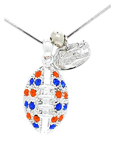 (Violet Victoria & Fan Star Jewelry Florida Football Necklace - Large - Royal Blue and Orange Crystal Gators)