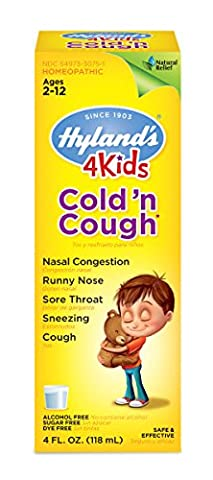 Hyland's 4 Kids Cold 'n Cough Relief Liquid, Natural Relief of Common Cold Symptoms, 4 Ounces