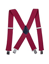 Men Utility Suspenders Adjustable Elastic - 2 Inch Wide X Shape Suspender