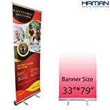 HAITIAN Aluminum Retractable Banner Stand 33x79, Roll up Banner Stand Graphic Size 33 x 79 Inches for Conference and Trade Show, Packed in A Padded Carrying Bag, Banner Does Not Included