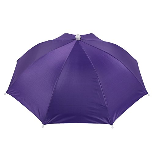 uxcell Purple Polyester 8 Ribs Fishing Sun Rain Headwear Umbrella Hat Cap ()