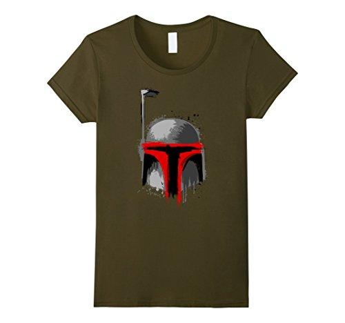 Womens Star Wars Boba Fett Dripping Paint Helmet Graphic T-Shirt Large (Boba Fett Female)