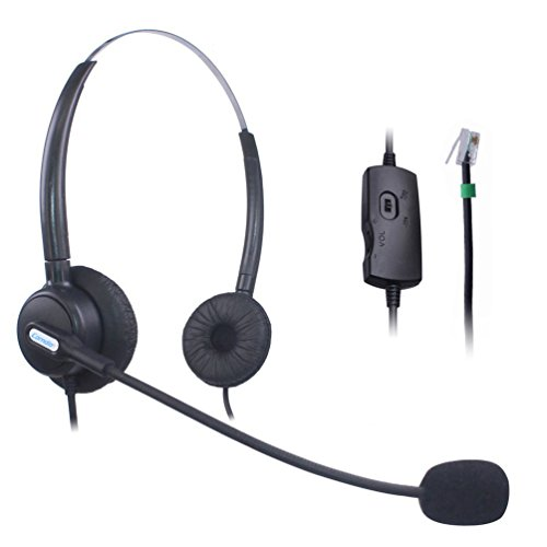 600 Telephone - Comdio CH203VA6 Corded Call Center Phone Headset Headphones Ear Phone + Volume Mute Control for Polycom SoundPoint IP Phone Series 300 301 430 500 501 550 600 601 650 Lazerbuilt Orchid Packet8 Ip Telephone