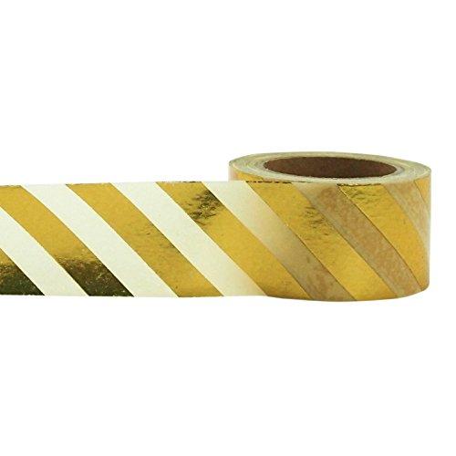Little B 100414 Decorative Foil Paper Tape, Gold Diagonal Stripe ()