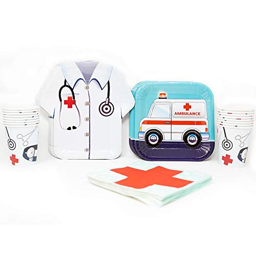 Blue Orchards Doctor Standard Party Packs (65+ Pieces for 16 Guests!), Doctor Party Supplies, Nurse Graduation, Birthday (Party Theme Medical)