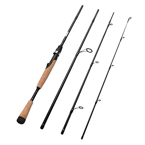Fiblink 4 Pieces Travel Spinning Rod Medium Graphite Spinning Fishing Rod Portable Fishing Rod (7' ()