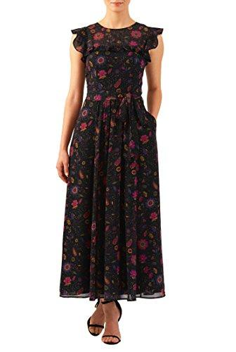 eShakti Women's Ruffle floral print georgette maxi dress L-14 Tall Black - Georgette Stretch Dress