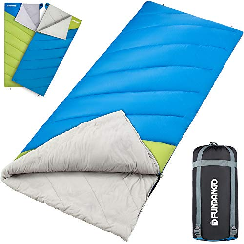 FUNDANGO Lightweight Sleeping Bag for Adults Waterproof Compact Warm Season Sleeping Bags Envelope Rectangular Sleep Bag for Camping Hiking Backpacking Travel with Compression Bag