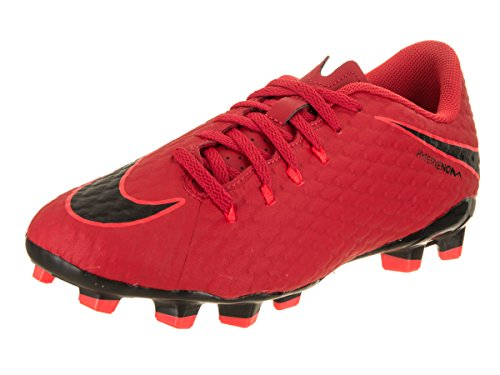 Nike Kids Jr Hypervenom Phelon III FG University Red/Black Soccer Cleat 5 Kids US