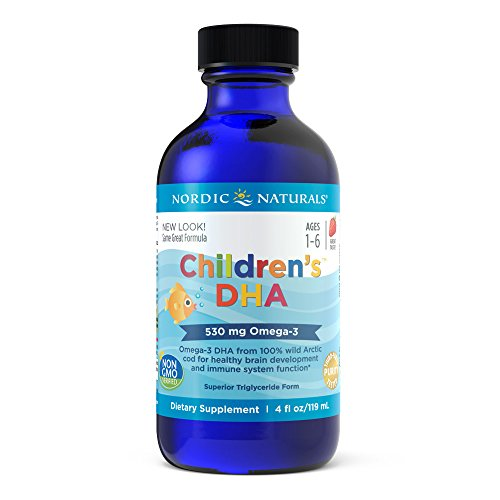 Nordic Naturals Children's DHA Liquid – Strawberry Flavored Fish Oil Supplement Rich In Omega 3 DHA, Supports Heart Health, Brain Development For Children During Critical Years 4 Ounce