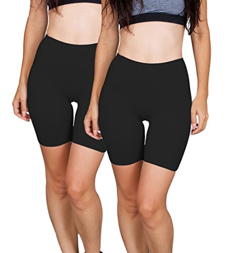 Emprella Biker Shorts Women, 2 Pack Bike Short, Spandex Slip Shorts Yoga Gym