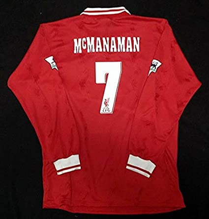 27040425aff Retro MCMANAMAN 7 Liverpool Home Longsleeve Soccer Jersey 1996 Full Premier  Patch (RED