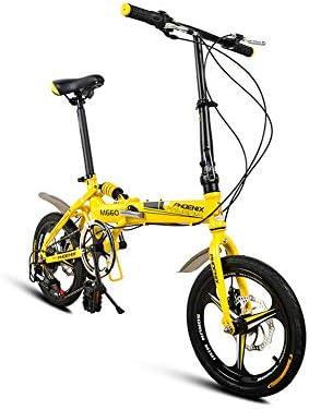 DT Bicicleta Plegable Amarilla Velocidad Variable 16 Pulgadas Macho Adulto y Hembra Ultraligero Bicicleta portátil una Rueda de Seis velocidades: Amazon.es: Hogar