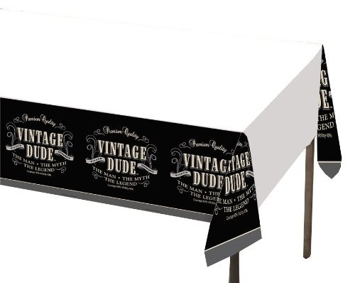 Creative Converting Vintage Dude Plastic Banquet Table Cover, 54 by 108-Inch -
