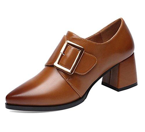 MUYII Zapatos De Mujer Para La Primavera Nueva Corea Zapatos De Moda Casual Y Zapatos De Tacón Antideslizantes Brown