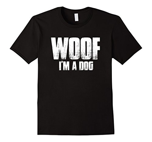 Funniest Easy Halloween Costumes (Mens Woof I'm A Dog T Shirt funny easy halloween costume gift XL Black)