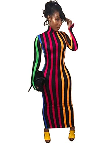 Rela Bota Women's High Neck Long Sleeve Striped Tunic Bodycon Long Maxi Pencil Dress Colorful Blue L (Club Dresses Colorful)