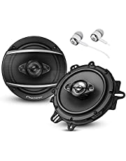 "$59 » Pioneer TS-A1670F A Series 6.5"" 320 Watts Max 3-Way Car Speakers Pair with Fiber Cone Midrange and 6-1/2"" Multi-Fit Installation Adapters Included with Alphasonik Earbuds"
