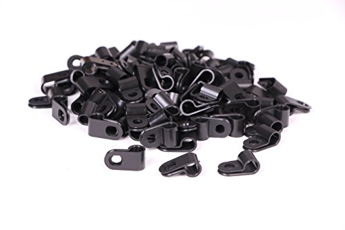 Plastic Tubing Clamps (Shapenty Black Nylon Screw Mounting R Type Cable Clamp Fastener Plastic Wires Cord Clip Fixer Holder Organizer for 1/4 Inch /6.35mm Diameter Wire Rope Tube Management, 100Pieces/Box)