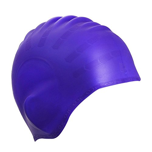 Swimming Cap Silicone Non-toxic Tasteless Swim Caps with 3D Ergonomic Design Ear Pockets and Great High Elasticity for Teenagers Women With Short Hair and Adults Keeps Hair Clean Ear Dry (Violet)