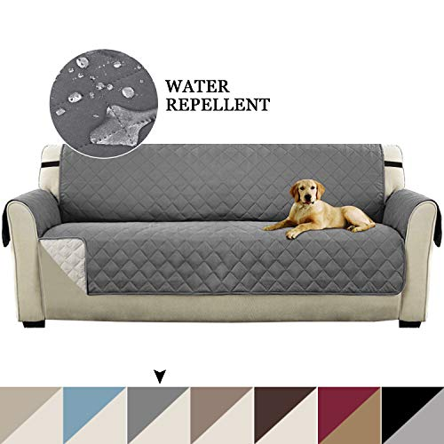 - Reversible Sofa Cover for Extra-Wide Couch With Elastic Straps, Water Resistant Sofa Slipcover Furniture Protector Anti-Slip Foams Wide Couch Covers for Pets (XL Sofa: Gray/Beige)-86