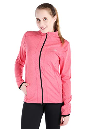 Dolcevida Women's Full Zip Long Sleeves Running Activewear Yoga Track Jackets (Pink, L)