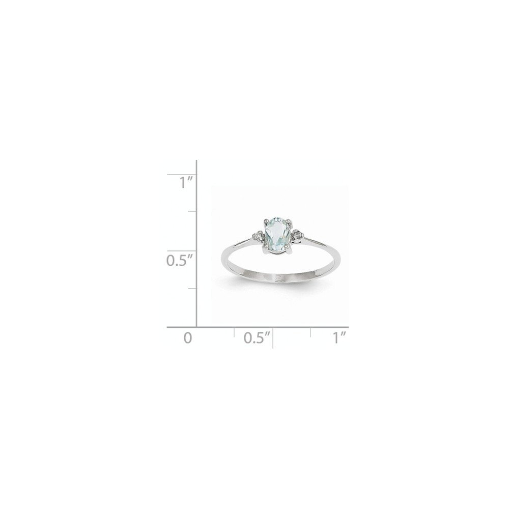 ICE CARATS 14k White Gold Diamond Blue Aquamarine Birthstone Band Ring Size 6.00 March Oval Style Fine Jewelry Gift Set For Women Heart by ICE CARATS (Image #4)