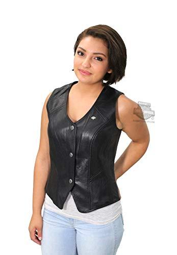 (Harley-Davidson Womens Essential B&S Metal Badge Snap Front Black Vest 98093-16VW (1w))