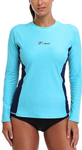 con Alove UV maglietta UV 50 Turchese nbsp; a maniche lunghe Bades protezione Rashguard da donna rwBqHzr