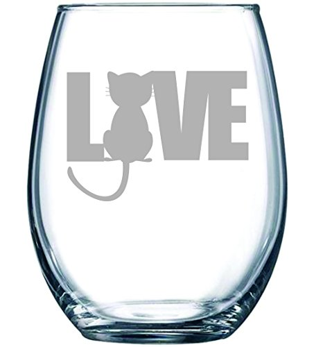 Cat LOVE stemless wine glass, 15 oz.
