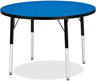"""product image for Berries Round Activity Table Side Finish: Blue with Black, Table Size: 36"""" W x 36"""" D (Elementary Size: 15"""" - 24"""" H)"""