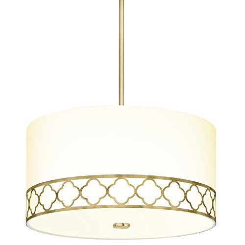 Large Fabric Linen Drum Chandelier – 18 Inch 4-Light Ceiling Fixture with Scalloped Brass Metal Design and Glass Diffuser