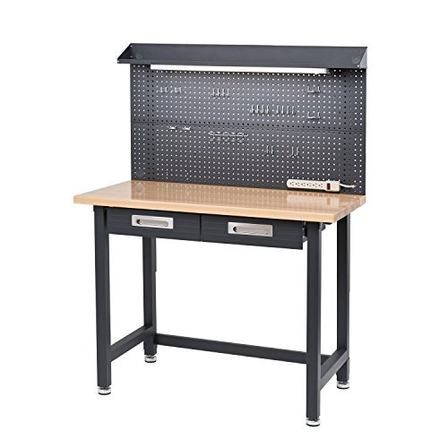 Lighted Hardwood Top Workbench Dark Grey cushioned lined storage drawers by Seville Classics