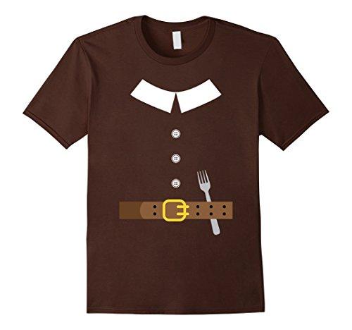 Early Settler Costume (Mens Thanksgiving Pilgrim Costume Halloween T-Shirt Men Women Small Brown)