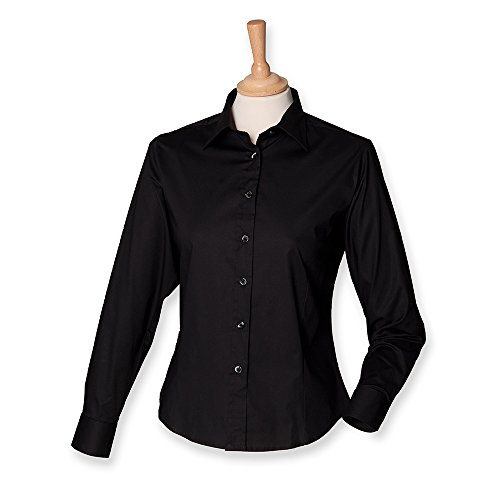 Henbury Ladies Long Sleeve Fitted Shirt M/12 Black