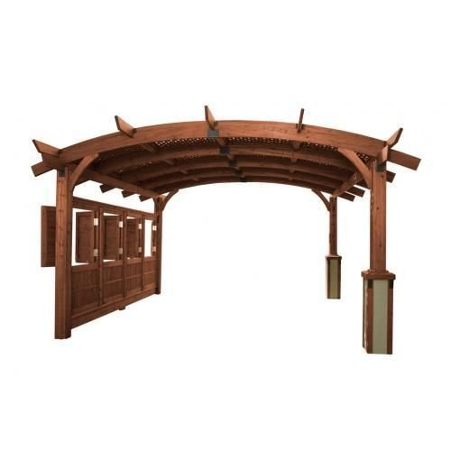 16' x 16' Sonoma Arched Wood Pergola with Lattice Roof & Privacy Wall -Mocha Finish by The Outdoor GreatRoom Company