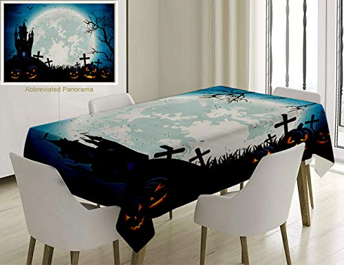 Unique Custom Cotton And Linen Blend Tablecloth Halloween Decorations Spooky Concept With Halloween Icons Old Celtic Harvest Festival Figures In Dark Tablecovers For Rectangle Tables, 78 x 54 Inches ()