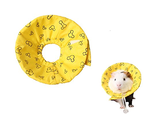 Hamster Rabbit Protection Cone Neck Recovery Collar - Small Animal Pets Elizabethan Collar Anti-Water Bite Sratch Risistant for Guinea Pig Mice Mouse Rats Ferret Squrrel (S, Yellow)