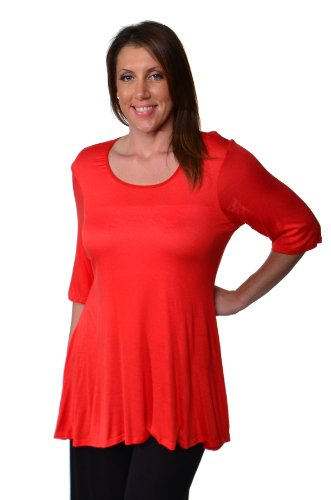 24seven Comfort Apparel Plus Size Clothing for Women Elbow Length Short Sleeve Tunic Tops Shirts - Made in USA - 2X-Large - Carrot