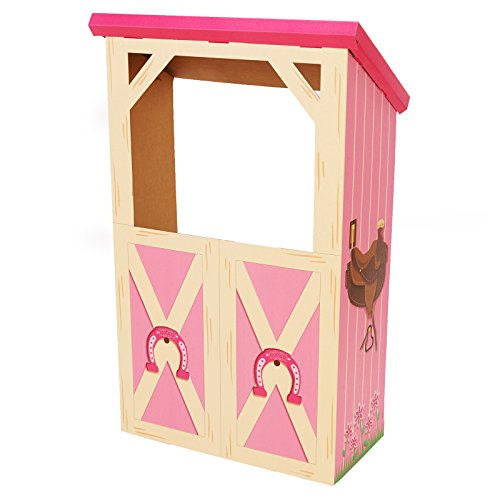 BirthdayExpress Pink Cowgirl Room Decorations - Barn Stable Cardboard Playhouse Stand in Photo Prop ()
