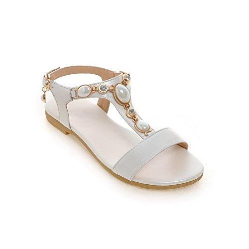 BalaMasa Womens Sandals Peep-Toe Urethane Soft-Ground Huarache Sandals ASL04667 White 8NOdQ