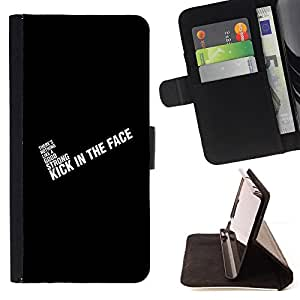 BullDog Case - FOR/HTC DESIRE 816 / - / black text white inspiring quote motivating /- Monedero de cuero de la PU Llevar cubierta de la caja con el ID Credit Card Slots Flip funda de cuer