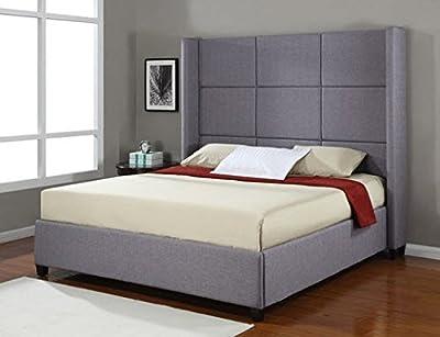 Jillian Grey Upholstered King-Size Platform Bed Frame