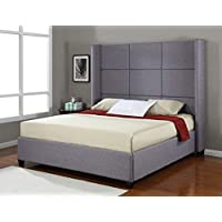 Jillian Grey Upholstered King-Size Platform Bed Frame